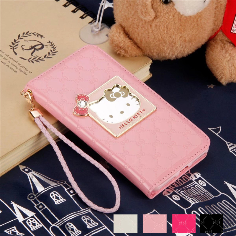 For iPhone X 6S 7 8 4.7 Luxury Mirror Hello Kitty Wallet PU Leather Flip Stent Card Slot Case For iPhone X 6S 7 Plus 5.5