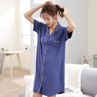 Women Nightwear Sexy Short Sleeve Rib Fabrics Sleepwear Pijama Simple Pure Color Home Wear Nightdress Nightgowns & Sleepshirts