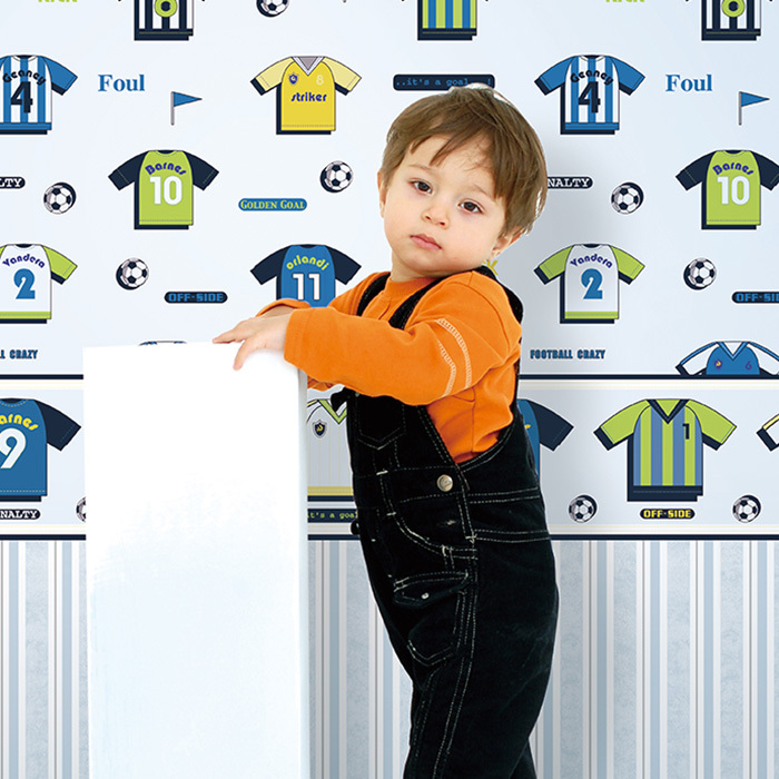 Eco-friendly non-woven soccer jersey cartoon child background wallpaper football sport wallpaper kids room wallpaper
