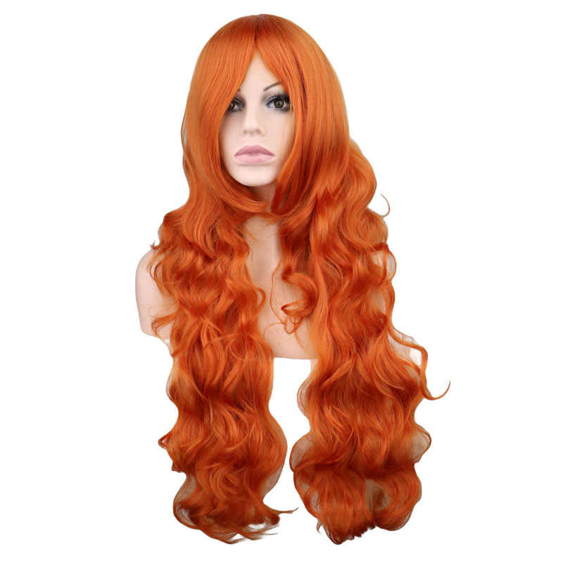 QQXCAIW Long Wavy Cosplay Party Orange 80 Cm Synthetic Hair Wigs