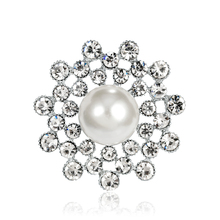 Brooches,Large Fashion Imitation Pearls Silver Rhinestones Crystal Brooch Pin Jewelry Accessories