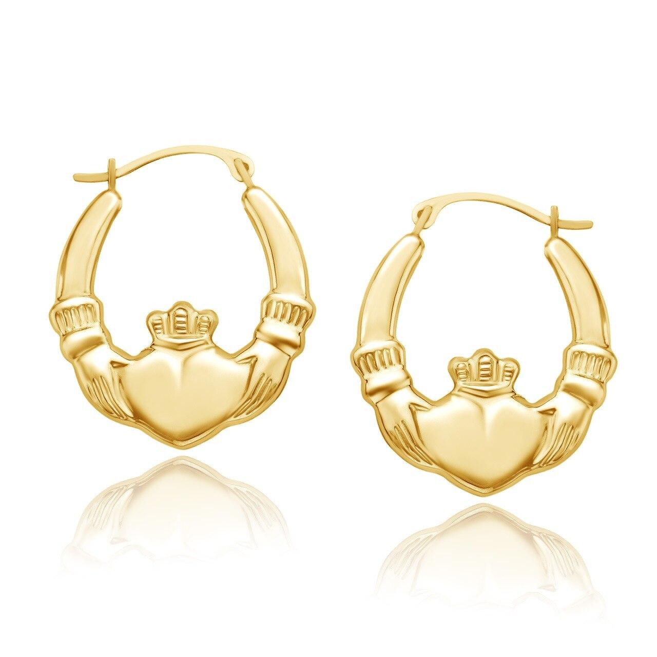 Gold Claddagh Hoop Earrings in 10K Gold gold triangle hoop earrings