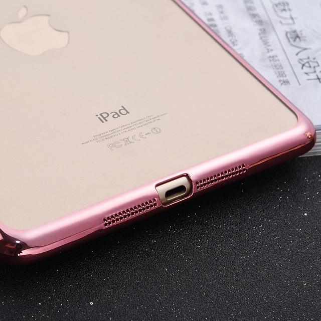 For iPad MINI 2 3 Luxury Crystal Electroplating Frame  for iPad MINI2 MINI3 Transparent Soft TPU Plating Tablet Case  Capa CL936