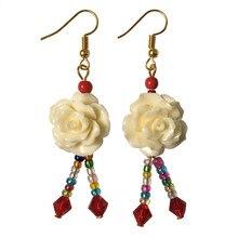 2017 New Pattern Fashion Jewelry Handmade Hook Earrings Charming Resin Rose Flower Crystal Eardrops Dangler Women Accessories