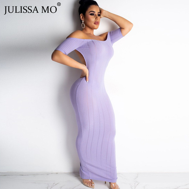 eca4274230401 JULISSA MO Rib knit Backless Bodycon Dress Women Short Sleeve Strapless  Pencil Pink Sexy Split Party Long Vestidos