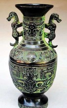 decoration bronze factory Pure Brass Antique Elaborate Chinese Collectable Handmade Dragon Auspicious Bottle / Vase