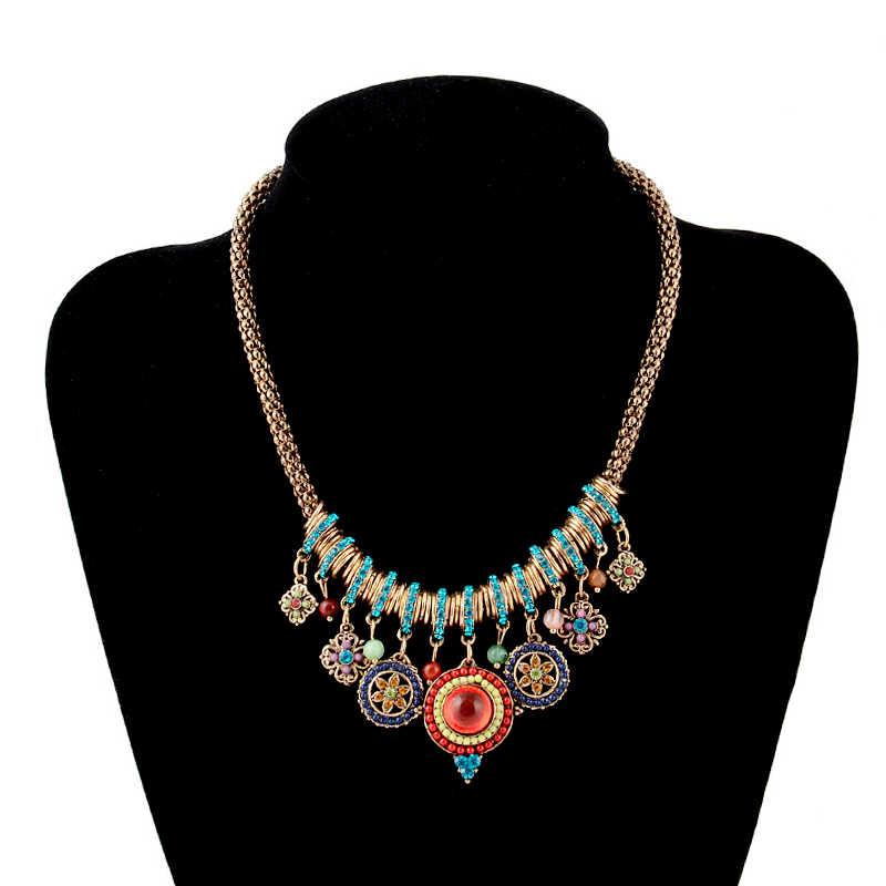 Boho אתני שרשרת נשים של אבן קסמי בוהמיה לולאות שרשראות נקבה סוודר בציר תליון שרשרת תכשיטים 2019