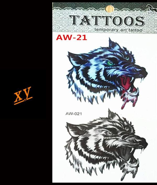 3 d Lobo flash tatuajes temporales del tatuaje arte corporal tatuaje hombres y m