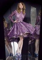 Лидер продаж индивидуальный заказ пикантные фиолетовые кружева с одежда с длинным рукавом v образным вырезом сзади короткая длина до колен