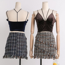 Vintage Plaid Wool Skirts Tweed Women Tassel Wimnter Mini Pencil Luxury Korean High Waist Elegant Skirt Lady