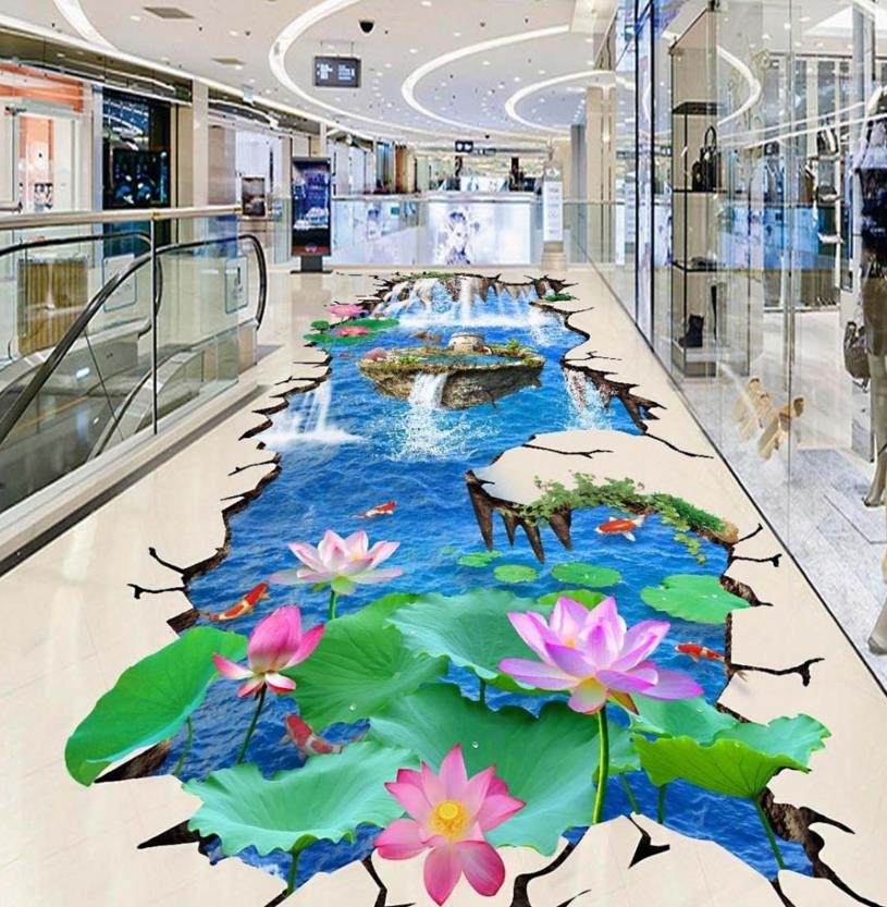 ФОТО 3D floor mural waterfall custom 3d flooring lotus self-adhesive waterproof wear wallpaper 3d kitchen wallpaper