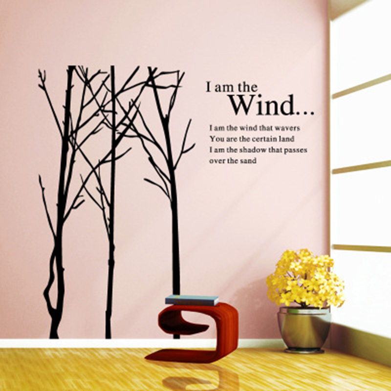 Creative Tree Branches English Words Wall Sticker Home Decor Wall Mural Poster Art Living Room Office Background Decor Decals