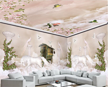 beibehang Dream fashion three-dimensional wall paper sky clouds Roman columns full house background painting 3d wallpaper
