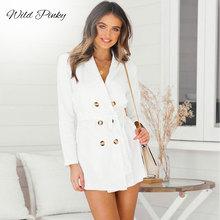 цена WildPinky Office Lady Solid Women Blazer Dress Elegant OL Casual Blazer Autumn Winter Double-breasted Slim Blazer Dress Vestidos онлайн в 2017 году