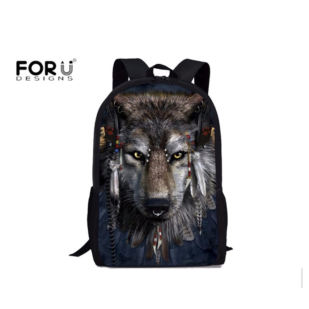 FORUDESIGNS Primary School Bags Cool Wolf Shark Backpack for Students Schoolbag Boys Girls Backpacks Book Bag Kids Best Gift forudesigns cute 3d cat kitten print children school bags for boys girls casual large lap top backpacks primary students satchel