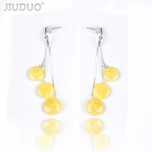 New butter yellow honey wax female 925 sterling silver allergy amber earrings fashion wild mail Genuine luxury JIUDUO jewelry