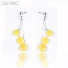 New butter yellow honey wax female 925 sterling silver allergy amber earrings fashion wild mail Genuine luxury JIUDUO jewelry