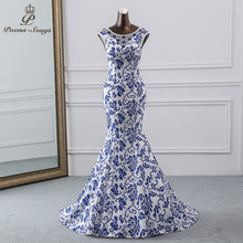 Gedichte Songs 2019 China abendkleid blau blume elegante party kleid meerjungfrau kleid abendkleid robe longue soiree