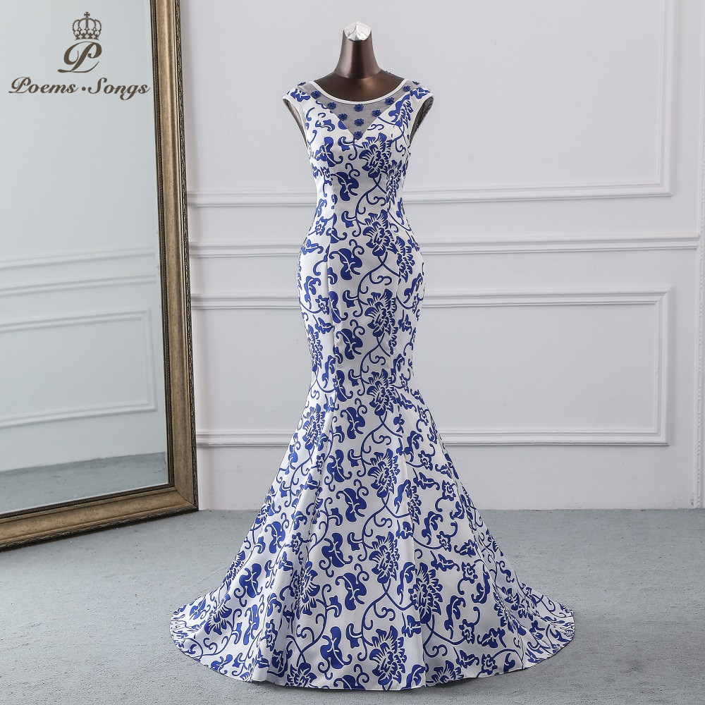 Poems Songs 2019 China element   evening     dress   blue flower elegant party   dress   mermaid   dress     evening   gown robe longue soiree