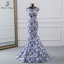 Poesie Canzoni 2019 China abito da sera blu del fiore elegante vestito da partito della sirena vestito da sera abito robe longue soiree