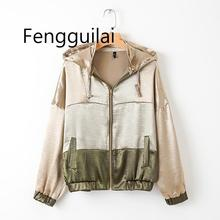 WOMAN Color Block Stitching Active Hooded Jacket sport coat Casual Women Autumn  Avtivewear Coat Feminine Streetwear