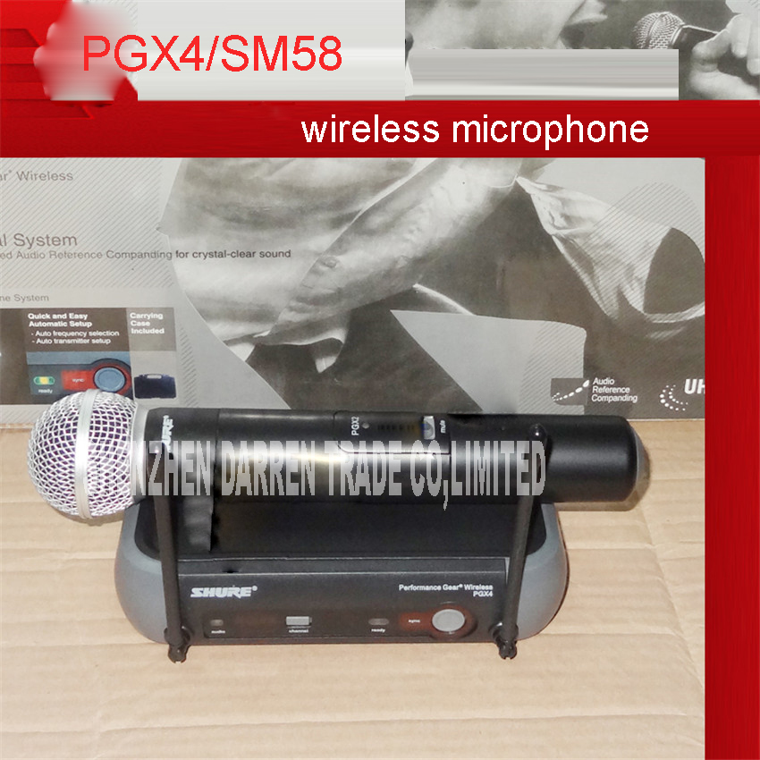 Professional Wireless Microphone System PGX4 / SM58 Microfone 90 selectable frequencies across 18MHz bandwidth 110V and 220V professional lapel music instrument microfone double bass microphone lapeal for shure wireless system xlr mini microphones