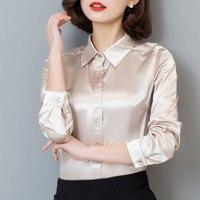 S-XXXL mulheres botão de Moda blusa de cetim de seda Rayon das senhoras camisa blusa ocasional do escritório Preto Branco Azul de manga longa top de cetim