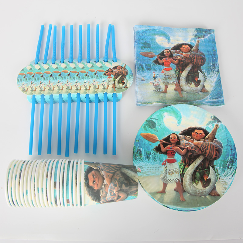 80pcs/set For 20kids Party Set Disney Moana Cup Napkin Plate Straw For Kids Happy Birthday Party Supplies Decoration Favors