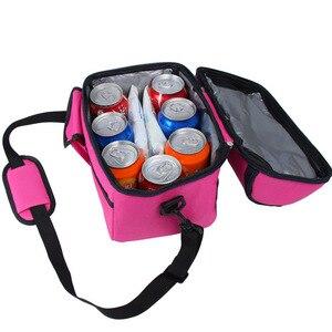 Image 4 - 캠핑 피크닉 가방 점심 가방 식사 바구니 휴대용 절연 패키지 더블 레이어 신선한 유지 가방 맥주 냉장고 휴대용 쿨러