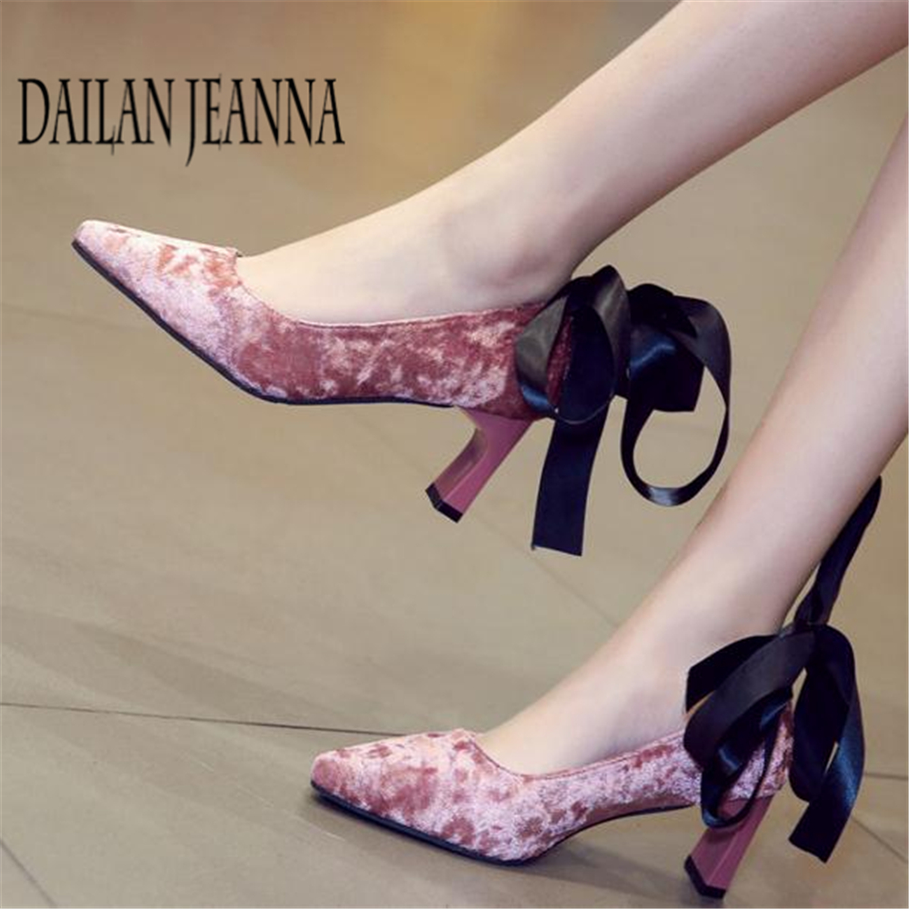 A shallow mouth heels female 2018 spring and Autumn New Korean sexy wedding shoes with thick bandage evening shoes 16cm fine with high heels female korean version of the sexy thin bow shoes round head shallow mouth shop shoes