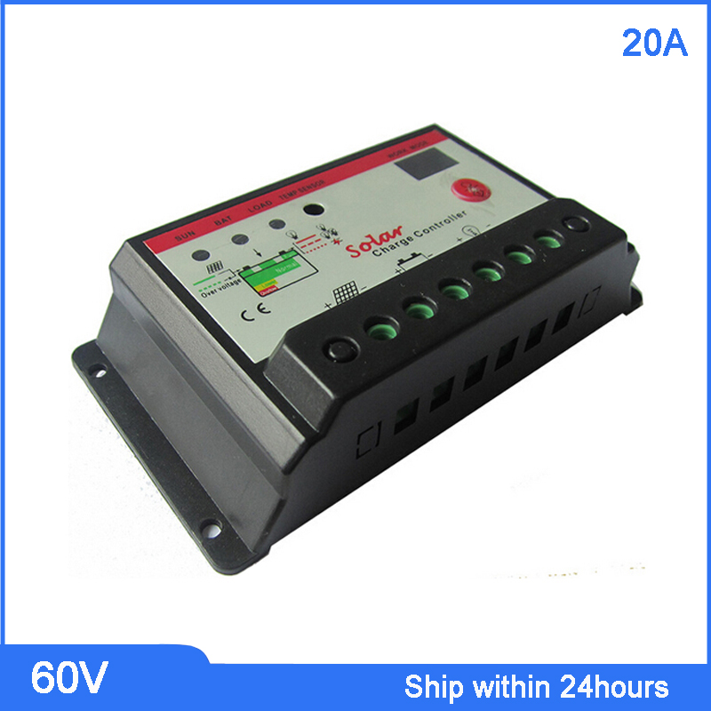 PWM Mode 60V 20A Solar Charge Controller solar panel battery charge discharge with Timer Control 20a solar controller 12v24v light control time automatically identify street charge