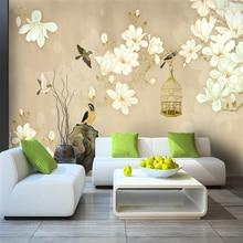 цена на Custom 3d wallpaper new Chinese classical art pen flower bird branch bird cage background wall - silk waterproof material