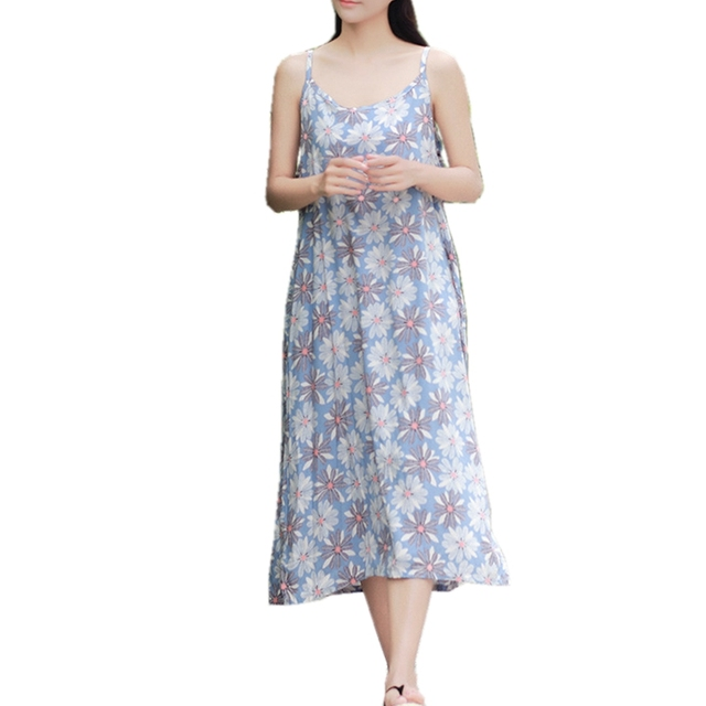 c7e4043966b Summer Sleeveless Strappy Midi Dress 100% Cotton Women Beach Dress Holiday  Slip Sundress Side Slits Plus Size Long Floral Dress
