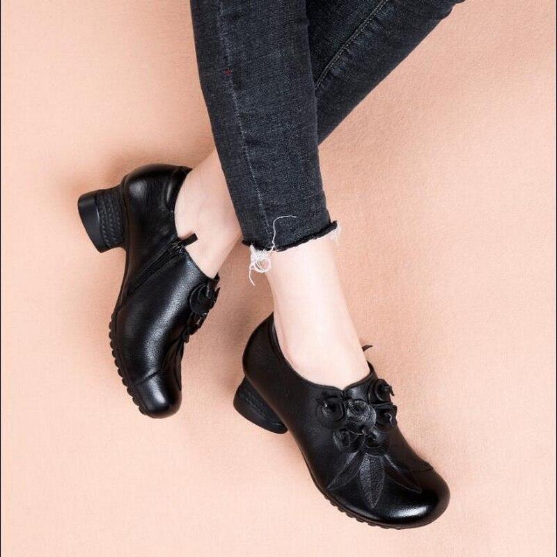 Cuir Confortable Original National Casual Noir Style Bottes 2019 New Simples Véritable Vache Frotter marron Cheville En Rétro Chaussures Couleur y0wvOmNn8