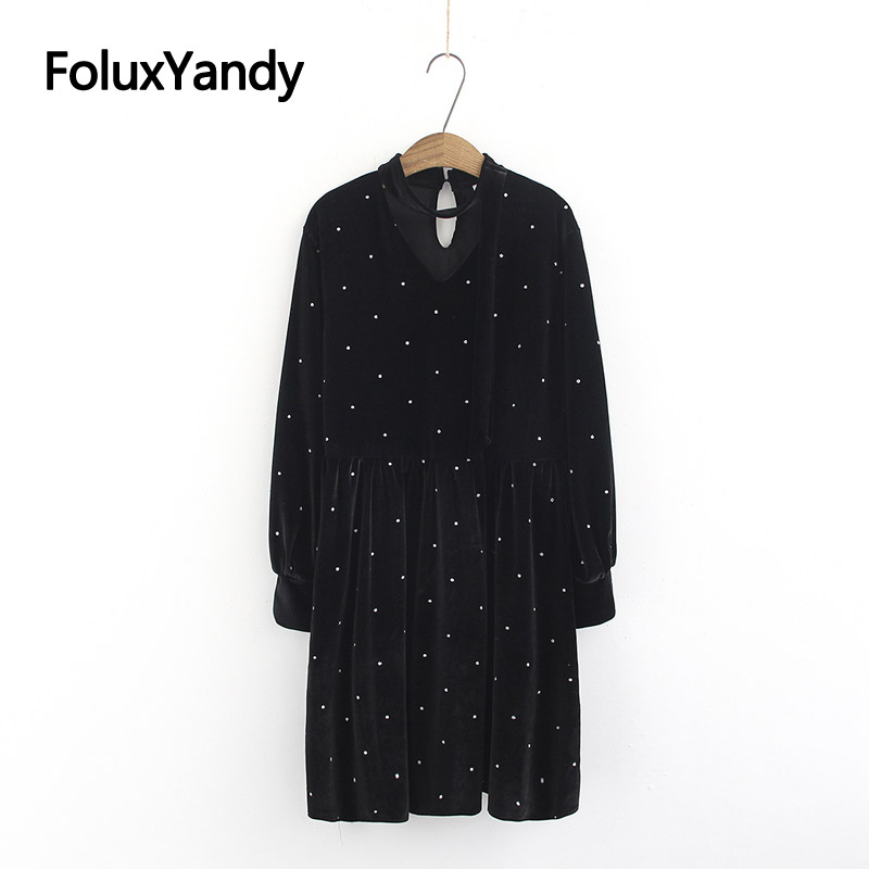 Pleuche Dress Black Casual V-neck Long Sleeve Dot Spring Autumn Plus Size Vestidos KKFY3089