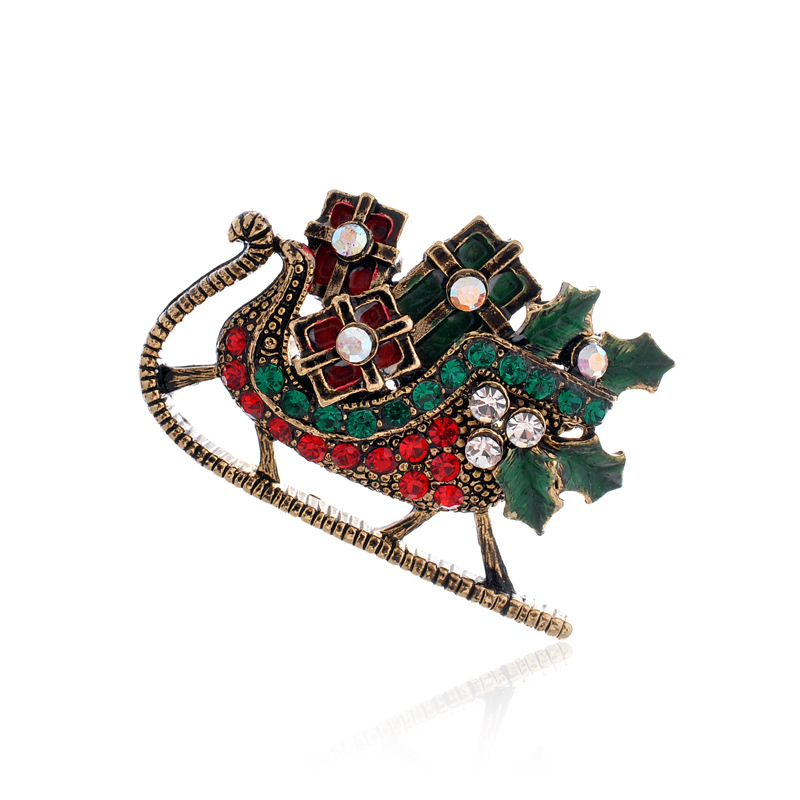 1.4 Inch Antique Gold Tone Multicolored Rhinestone Crystal Santa's Sleigh.brooch Christmas Gifts Vintage Jewelry