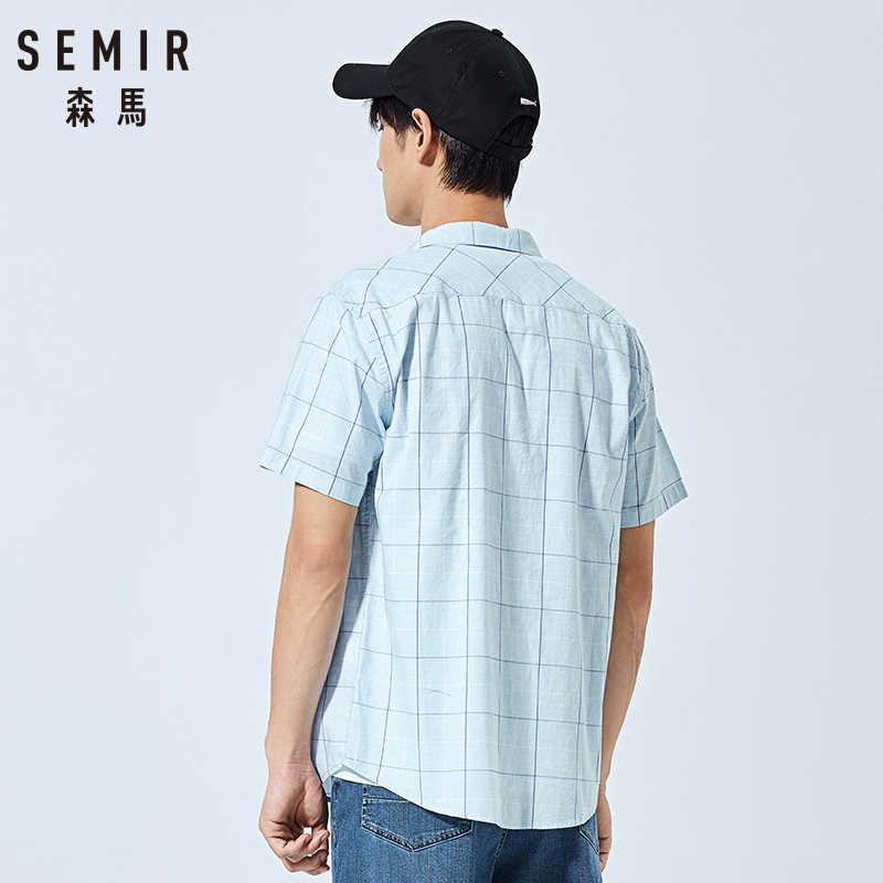 SEMIR 2019 여름 새로운 짧은 소매 셔츠 남자 대조 색 격자 포켓 옷깃 면화 셔츠 조수 남성 슬림