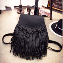 2015 new Korean fashion tassel shoulder bag lady  bag College Wind casual personality backpack