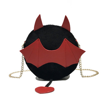 Plush Bat Small Round Bag Women Gothic Chain Shoulder Bag
