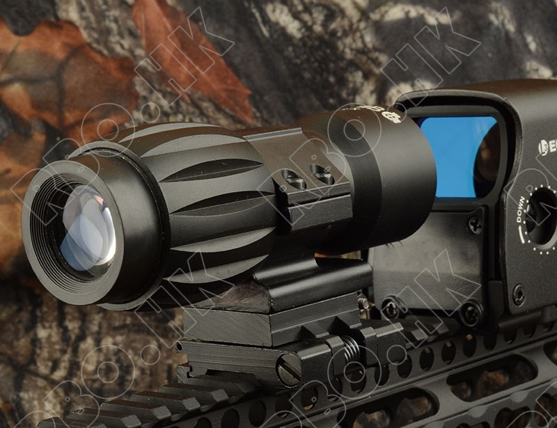 Tactical Red Dot Sight Scope 5x Magnifier Quick Scope Witch Picatinny Weaver Rail Side Mount Base M8567