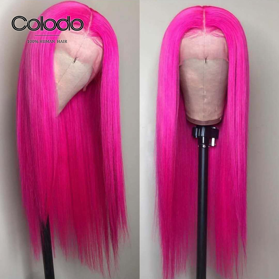 COLODO Remy Hair Pink Brazilian Human Hair Wig Blonde 613 Lace Front Wigs For Black Women Preplucked Colored Straight Wig