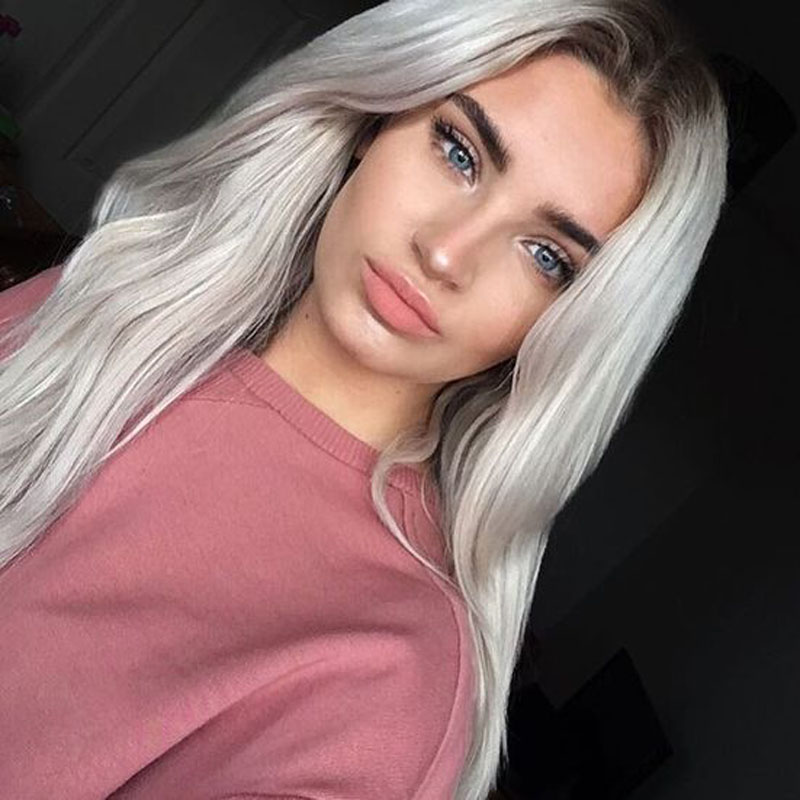 ФОТО High Quality Grey Ombre Wig Long Natural Straight Gray Wigs Synthetic Lace Front Wig Cheap Wigs Cosplay Women Fashion Hair Style