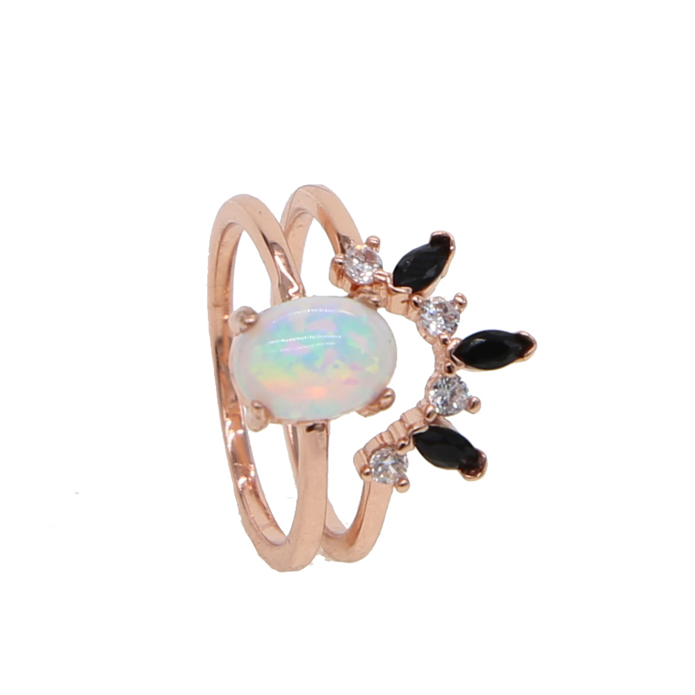 And Great Variety Of Designs And Color Initiative Size 6 7 Rose Gold Color Big Agg Shaped White Fire Opal Black White Cz Wedding Set Luxury Women Ladies Party Stack Fashion Ring Famous For High Quality Raw Materials Full Range Of Specifications And Sizes