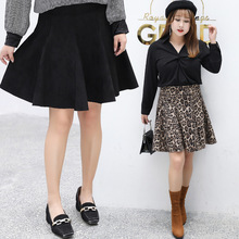 Winter Autumn Women Leopard Print Vintage Suede One-Step Skirt Lady's Pleated A-Line High Waist Casual Sexy Mini Skirt plus size yellow suede studded mini skirt
