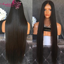 Natural Black Full Lace Wigs silky straight Middle Part Long 150% Virgin Brazilian Human Hair Full Lace Front Wigs Glueless