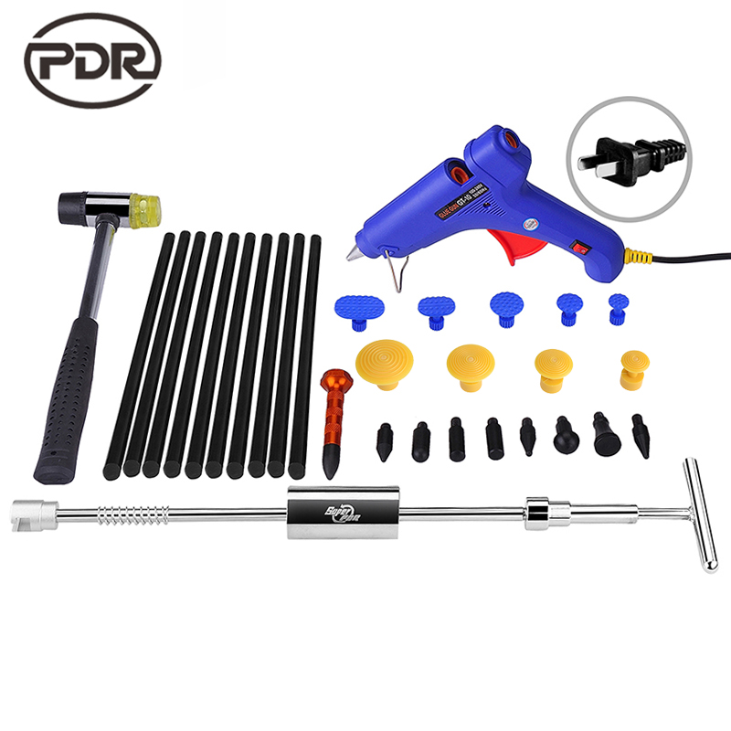 PDR Tools Kit Dent Removal Paintless Dent Repair Dent Puller Slide Hammer Glue Gun Glue Tabs Suction Cup Fungi Repair Tools  paintless dent repair tool pdr kit dent lifter glue gun line board slide hammer dent puller glue tabs suction cup pdr tool set