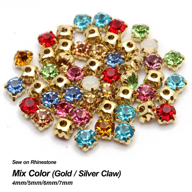 Top Fashion Real Sew On Rhinestone 10 Color Mixed 4mm 5mm 6mm 7mm Stones  Gold Silver Claw Base Use For Diy Accessories 2030f299029c