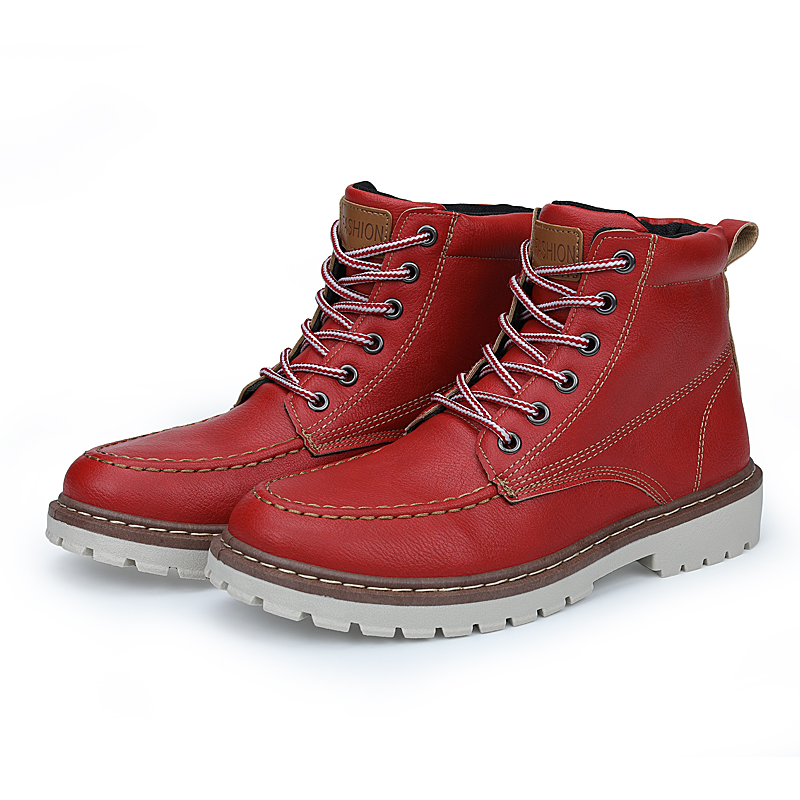 New Men Boots Winter Snow Boots Warm Fur Plush Lace Up High Top Simple Design Style Black Red Brown Grey Classic Footwear