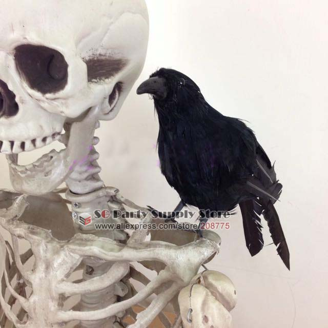 simulation black crow animal home decorations magic show cosplay photography props easter bar halloween decoration free shipping - Halloween Crow Decorations