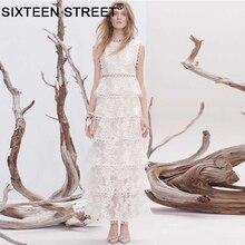 Noel maxi elbise beyaz boyun kolsuz parti dantel elbiseler kadınlar zarif örgü vintage kadın Uzun vestidos sonbahar bahar
